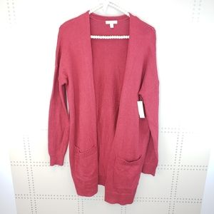 Abound | Cranberry color open Cardigan